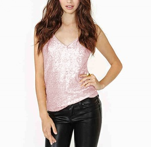 Women T Shirt Girl Sexy Strap Sequin Camisole Sleeveless Tank Top