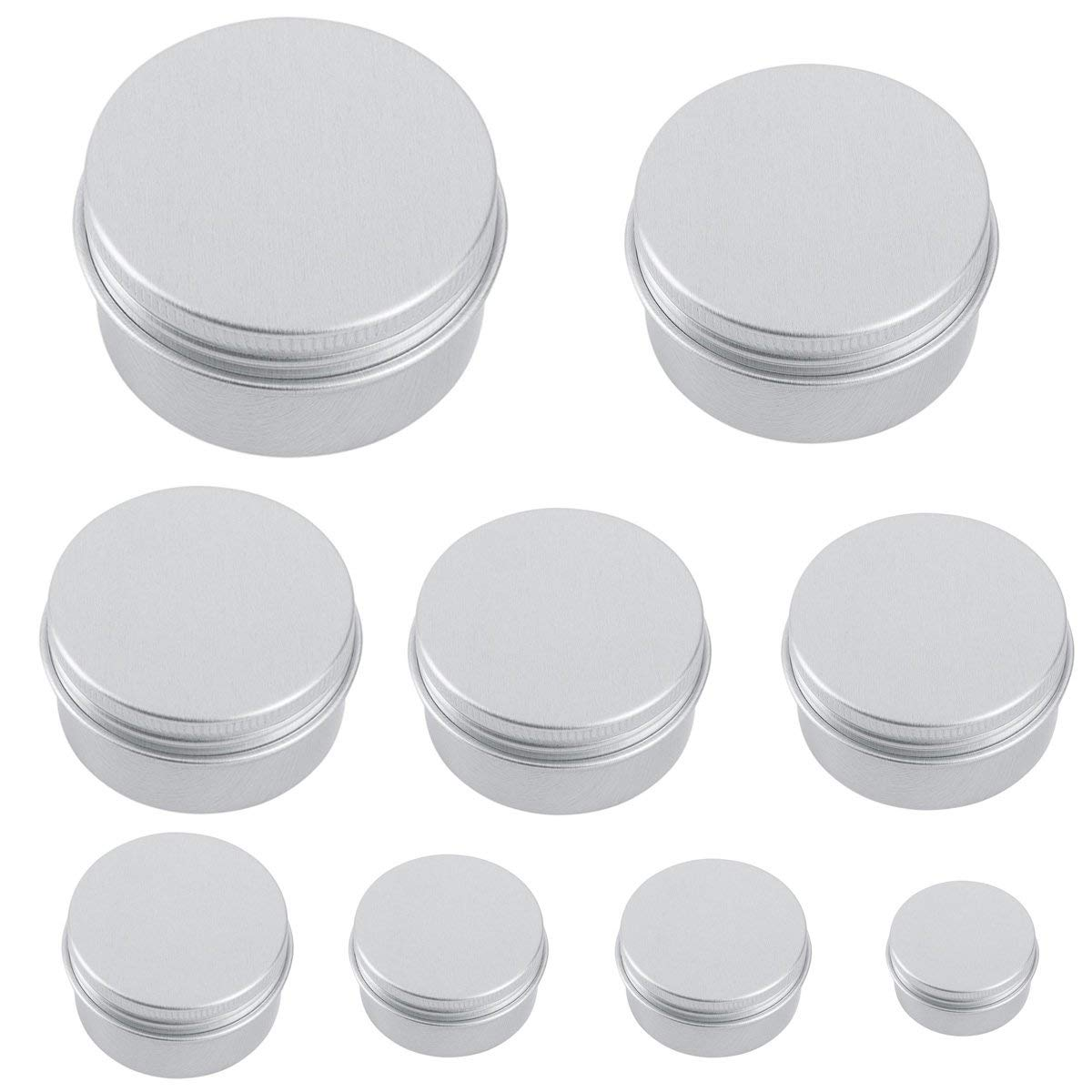 9pcs Aluminum Round Lip Balm Tin Container Bottle With Thread Lid For Cosmetic Crafts Sample Pots Herbs Nail Art Lotions Salves 8g