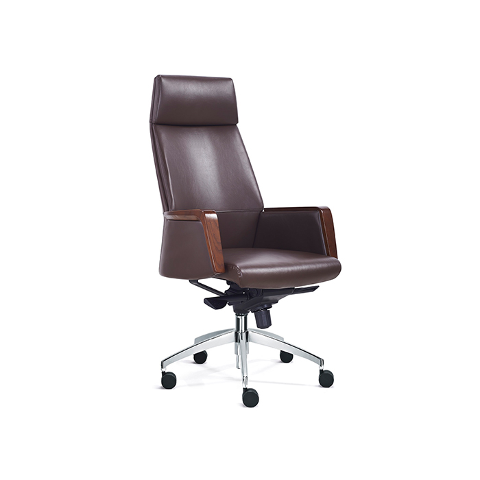 PU leather solid wood armrest office chair executive swivel chair