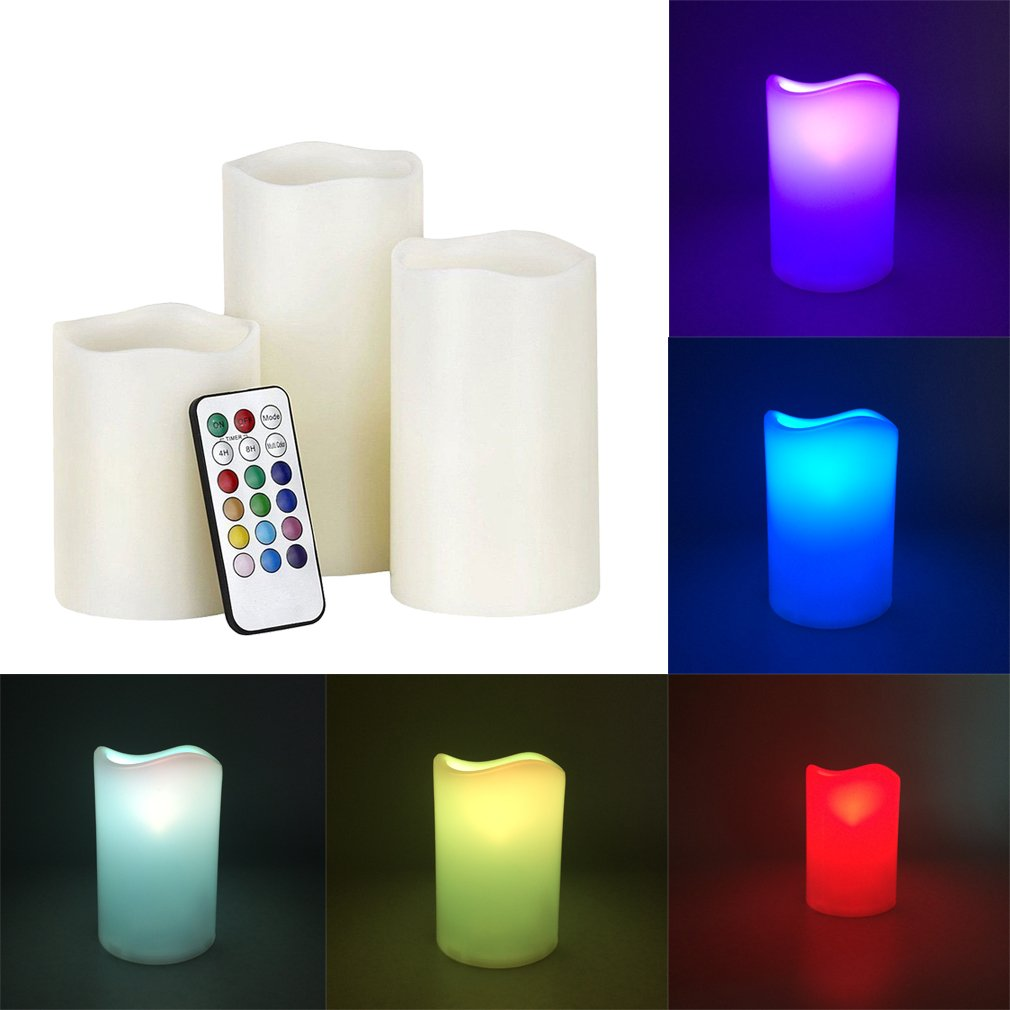 LED Color Changing Flameless Mooncandles, Dreamiracle Weatherproof Outdoor Indoor 12 Colors Changing LED Candle Lights with 18 Keys Remote Control & Timer, 4-inch/ 5-inch/ 6-inch, Set of 3
