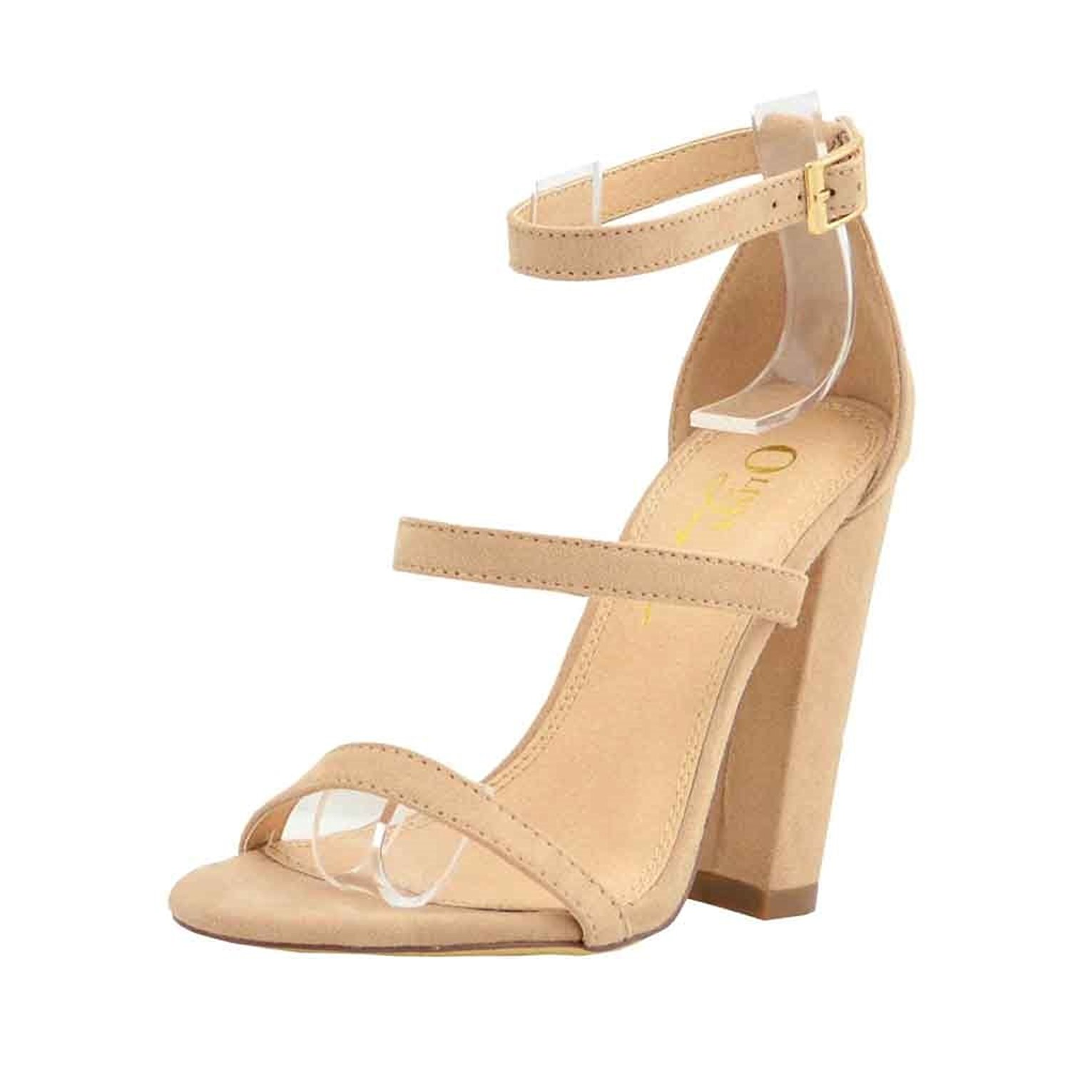 Olivia Jaymes Women's Casual Sandal | Round Toe | Triple Band Ankle Strap | Block Chunky Heel Sandals