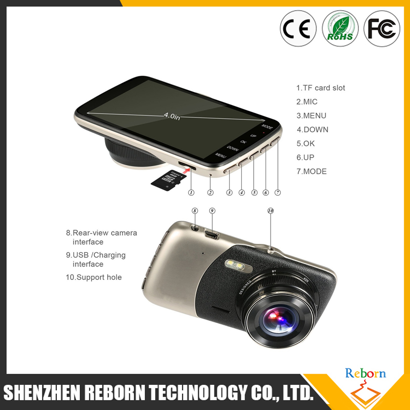 "New 4.0"" IPS Car DVR Camera Dual Lens Dash Cam FHD 1080P with Rear view Auto Registrator Digital Video Recorder Camcorder"