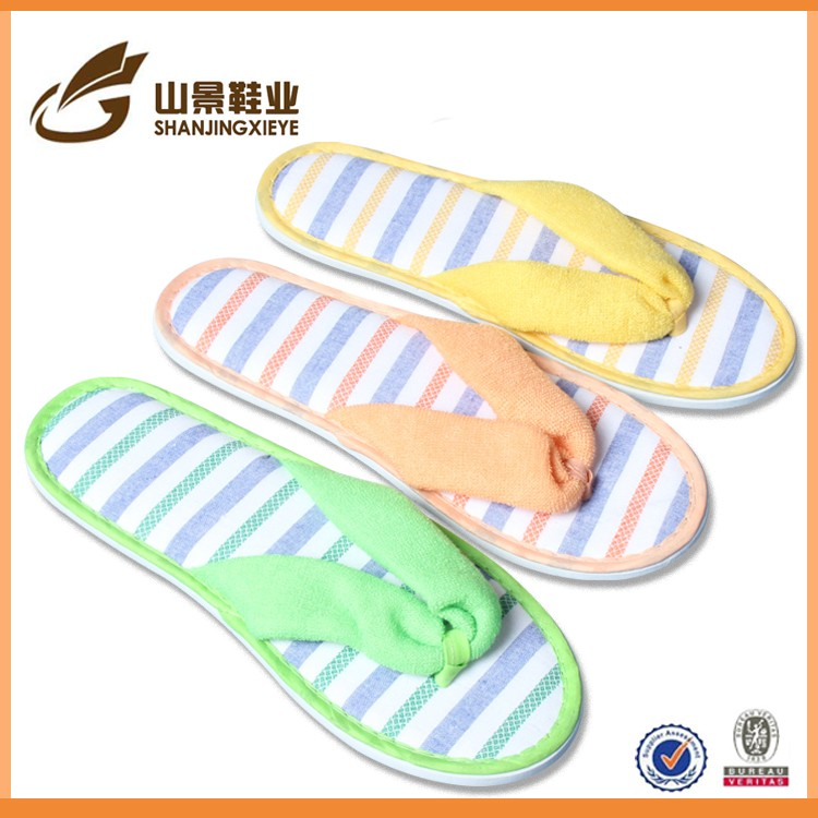 velvet eva embroidery disposable flip flop hotel slippers