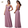 Perfect Fit Deep V-Neck with Lace Pleated Bodice Long Bridesmaid Dress in Stretch Chiffon For Bridal Party