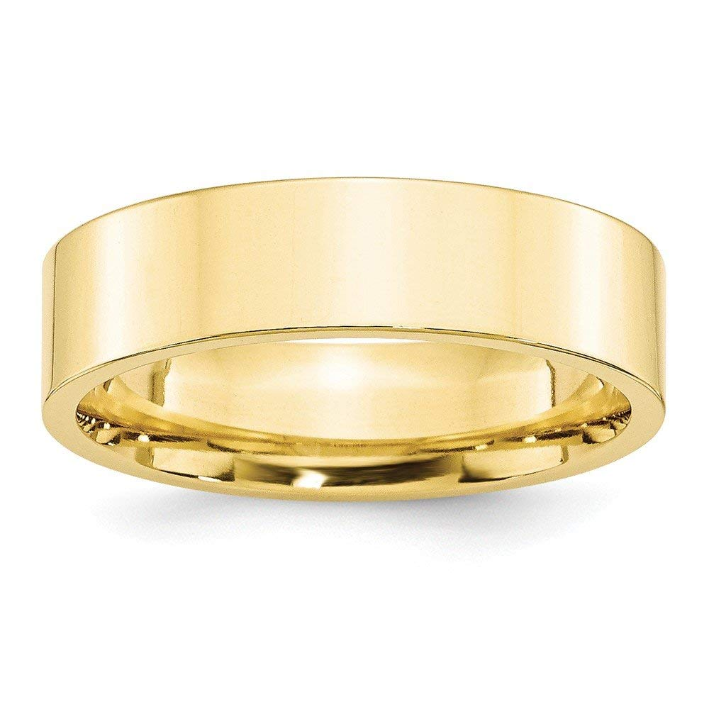 Best Designer Jewelry 10KY 6mm Standard Flat Comfort Fit Band Size 8