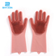 Reusable Magic cleaning sponge silicone dishwashing gloves with wash scrubber