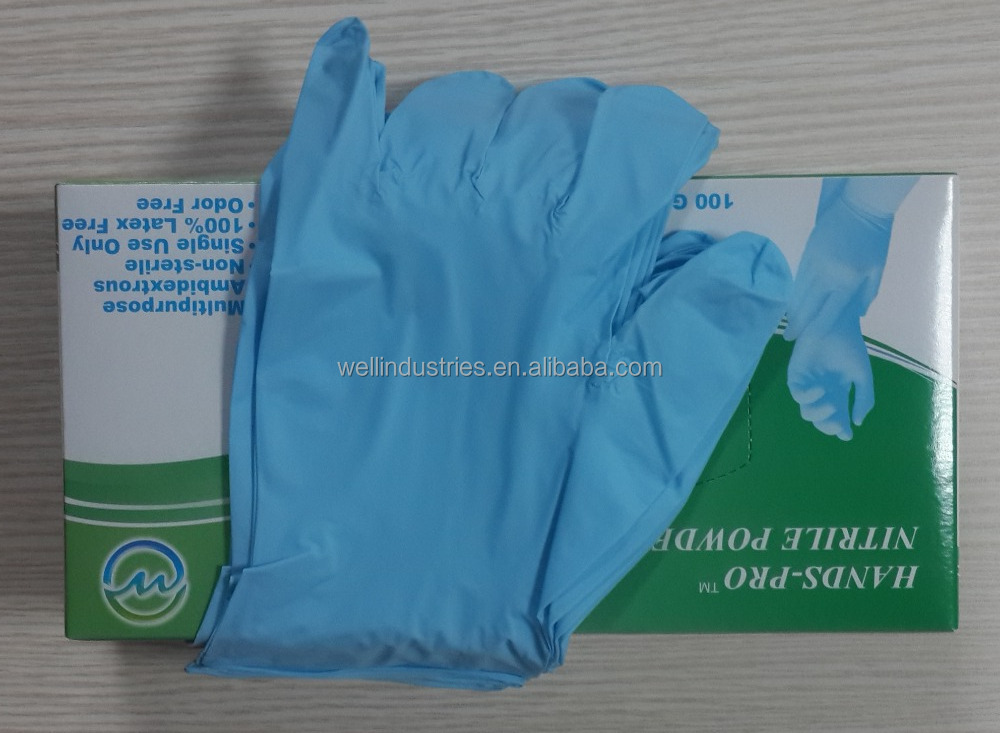 Powdered or Powder free nitrile safety gloves disposable nitrile gloves