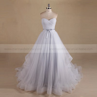 Gorgeous Strapless Sweet Heart Pleat Ruffle Tulle Wedding Dress With Ribbon