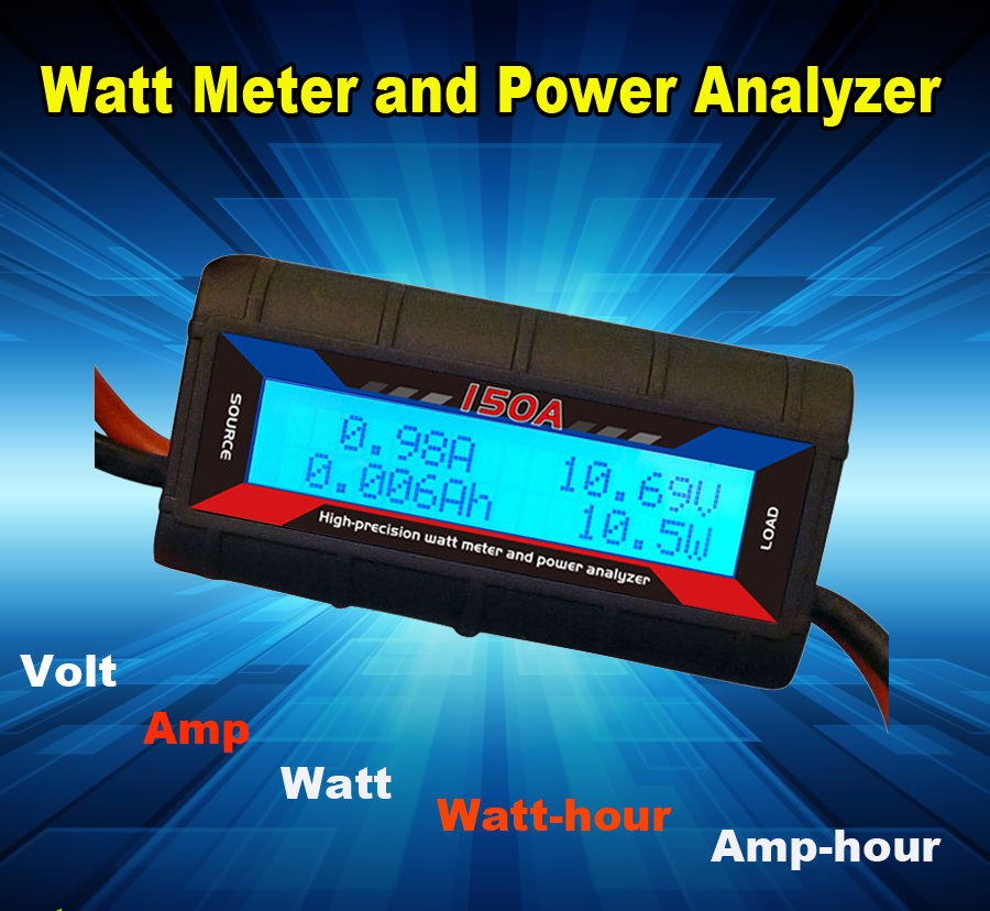 Digital 60v 150a Volt current watt watt-hour amp-hour meter with Anderson Powerpole for Ham Radio & Amateur Radio