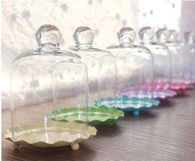 Free Shipping Multicolour Mini Cake Pan With Glass Dome