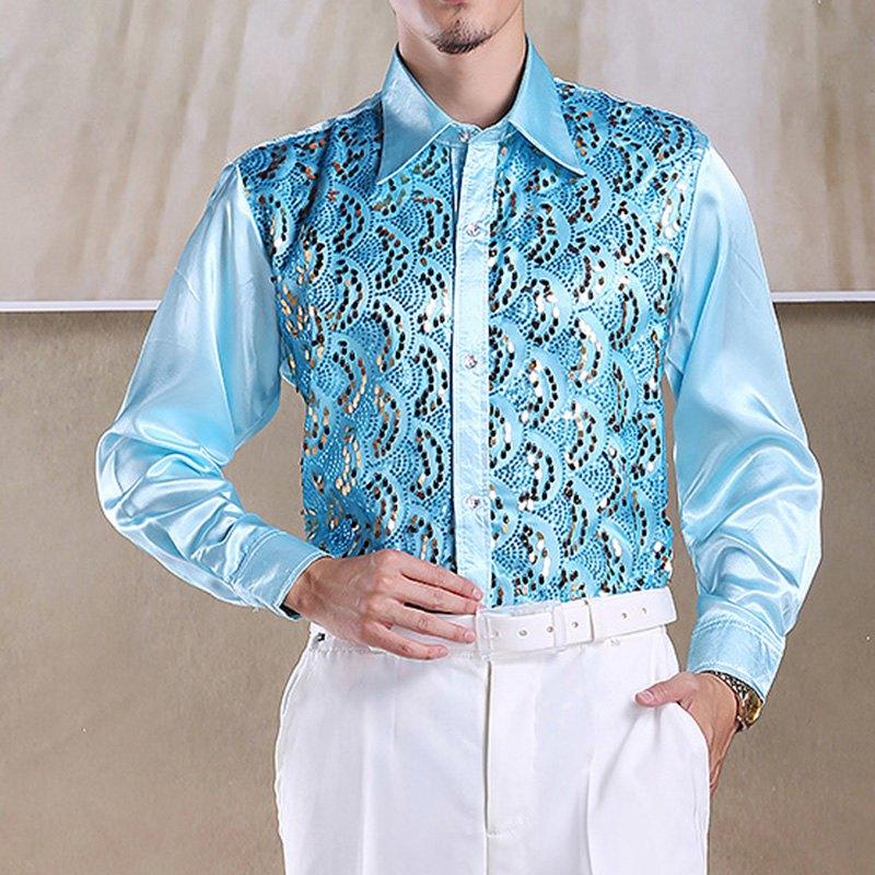 14edc0e3 Wholesale- Best Selling Men Latin Dance Tops Long Sleeve Sequins ...