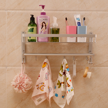 Bathroom Wall Mounted Storage Basket And 2 Towel Rails