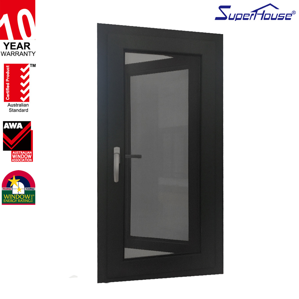 double panels aluminium frame casement window with security screen