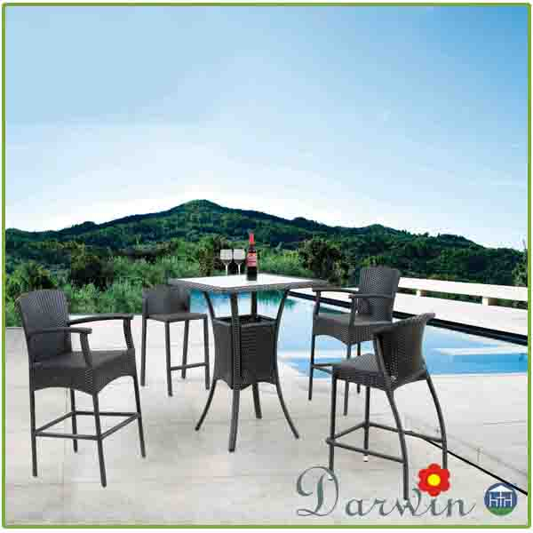 Outdoor Wicker High Bar Table and Stools DW-BT150