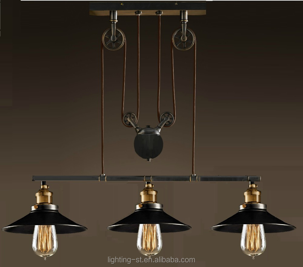 Artistic Pendant Light With 3 Lights In Pulley Block Design Morden Simple Home Ceiling Fixture Stb 303 Modern Industrial Lamp Antique
