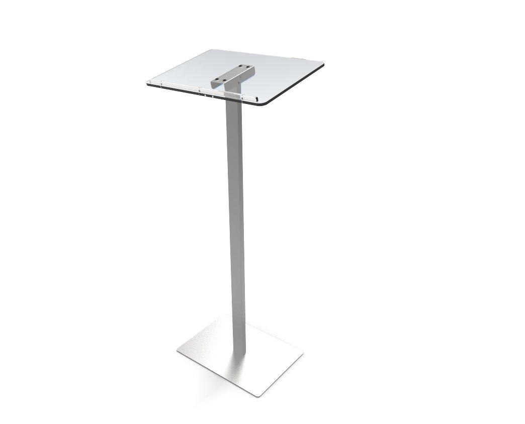 FixtureDisplays Acrylic Podium for Floor, Aluminum Pole & Base - Clear & Silver 119741