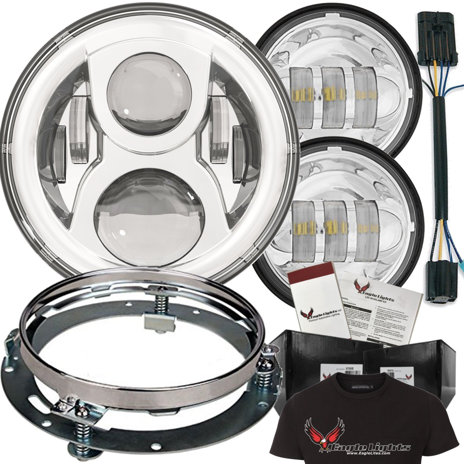"""Eagle Lights 7"""" Round LED Headlight Kit - 8700CG2 Chrome Gen 2 Daymaker with Matching Passing Lamps, Adapter Wire & Ring Free T-Shirt included"""