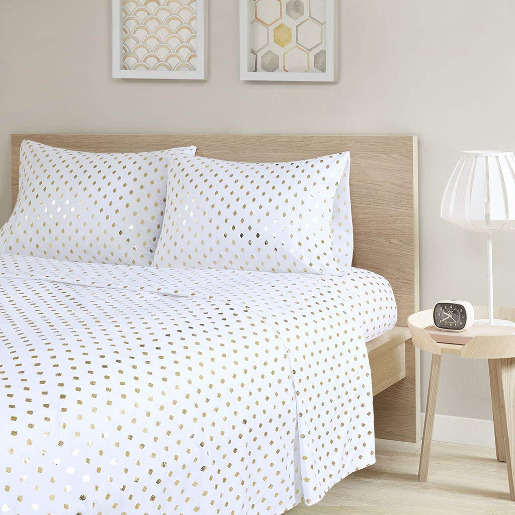Intelligent Design Metallic Dot Printed Sheet Set White/Gold Queen