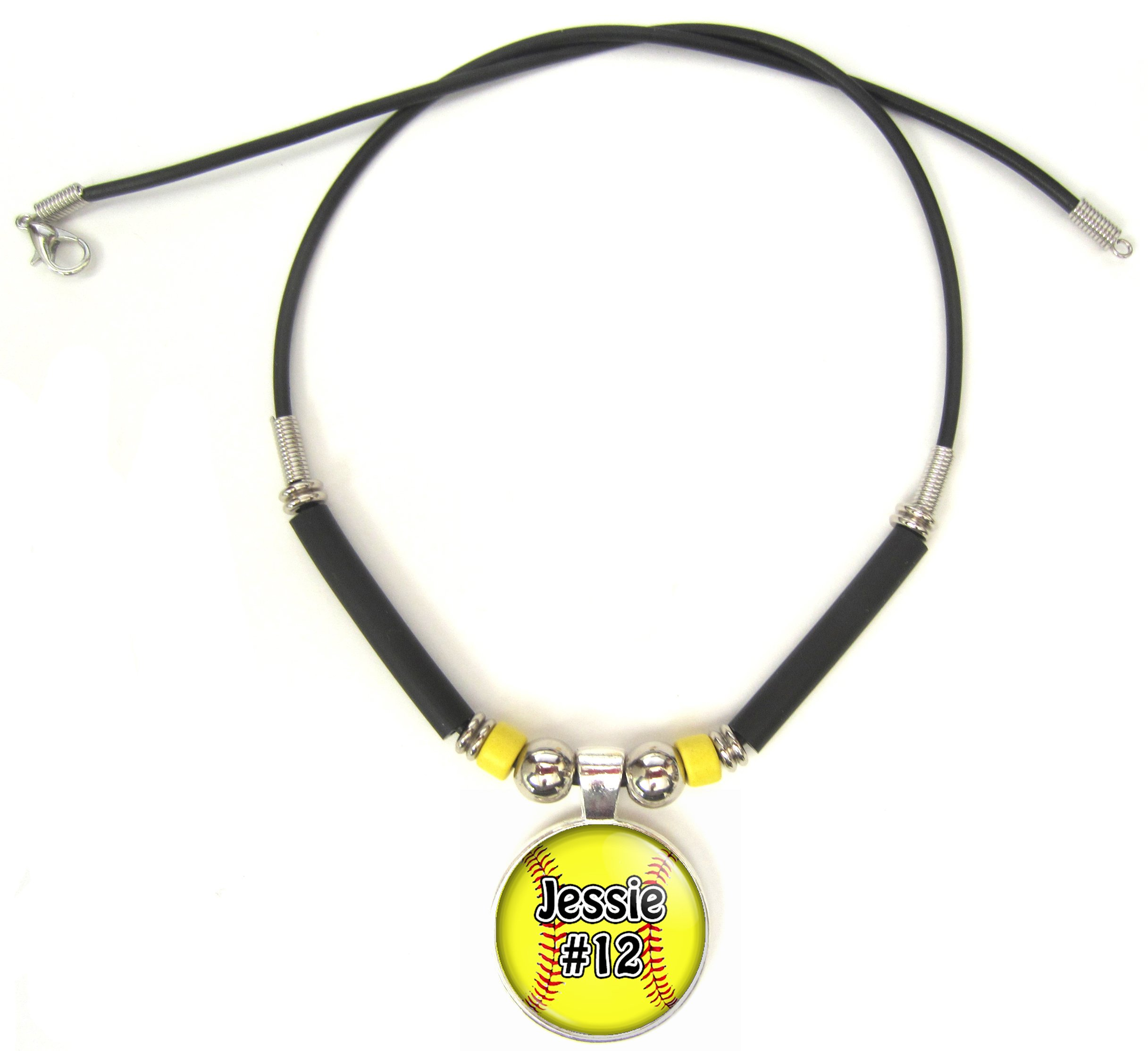 charm gold sports softball pendant necklace baseball white