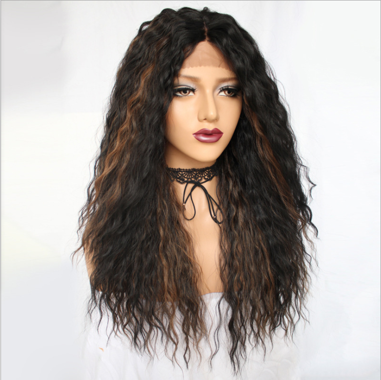 Natural Long Kinky Weave Hair Wig Afro Puff Yaki Straight Hair Glueless Lace Front Synthetic Hair Wigs for Women Ladies Wig