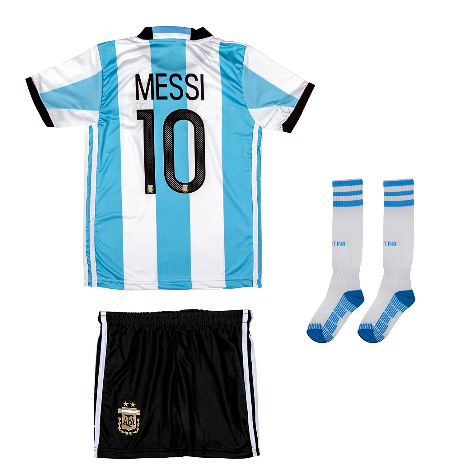 c6dd4728f Get Quotations · AMDS Soccer Youth Jersey Set ○ Argentina ○ Home Jersey  With Long Socks ○ EURO 2016