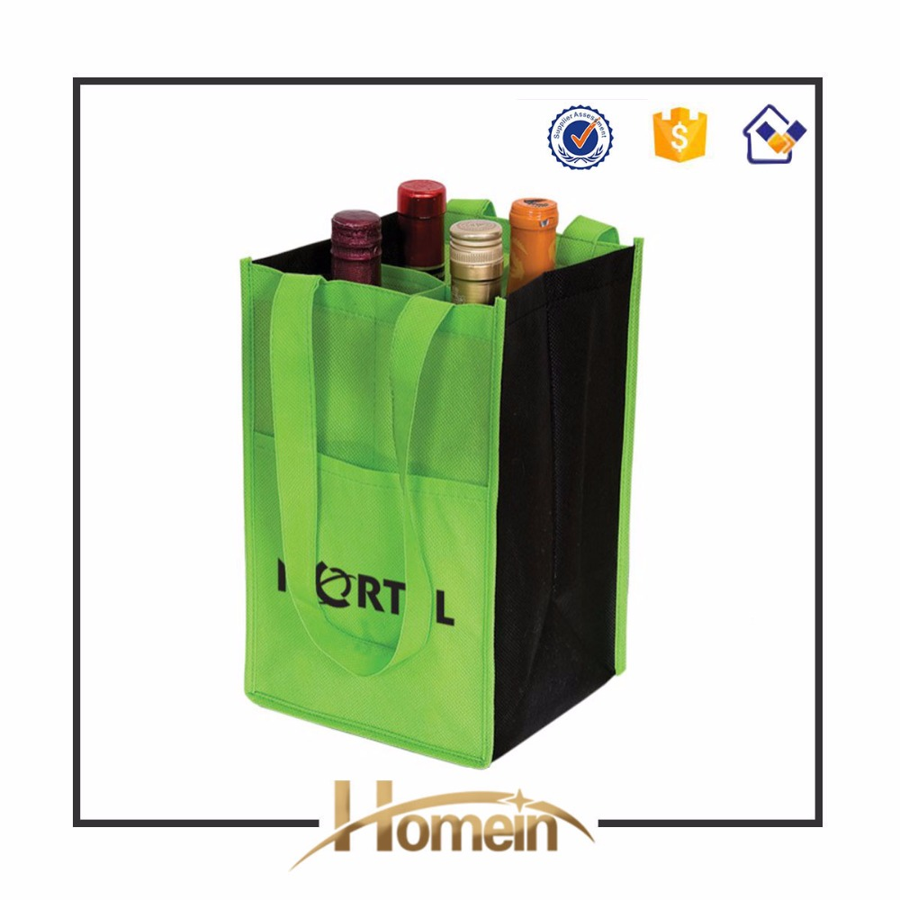 Eco Environment Friendly wine beer carrier bag (6 bottle bag, green)