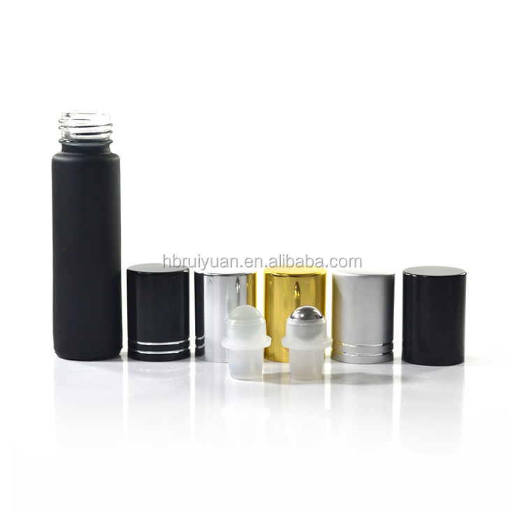 essential oil eye cream oil roller 10 ml matte black bottle with metal roller
