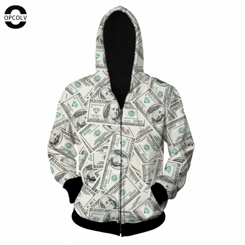 OPCOLV 2015 fashion men/women hip hop zipper 3d sweatshirt print dollar hoodies casual funny harajuku graphic 3d sweatshirts