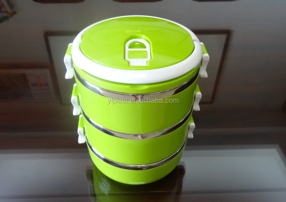 Three layers Stainless steel + PP lunch box 2100ml with spoon and fork for kid