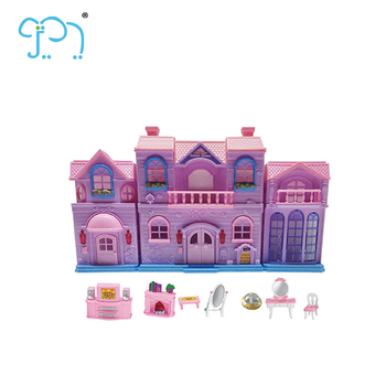 Plastic Mini Toy Doll House Furniture For Kids Model Doll House Toy With  Light