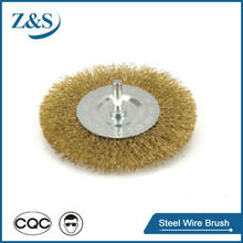Stainless steel wire wheel brush with shaft mounted