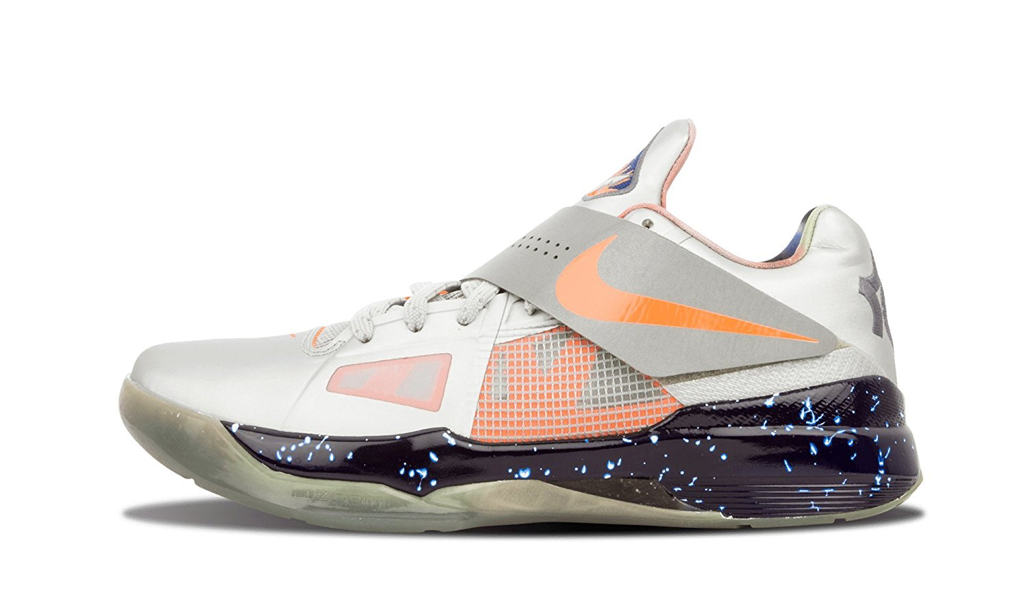 3b68d35ac12c Nike Mens Zoom KD IV AS Metallic Silver Total Orange-Dark Grey Leather Size