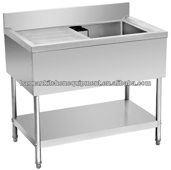 restaurant stainless steel food work prep table with sink on right