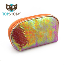 Wholesale PU chevron cosmetics bag