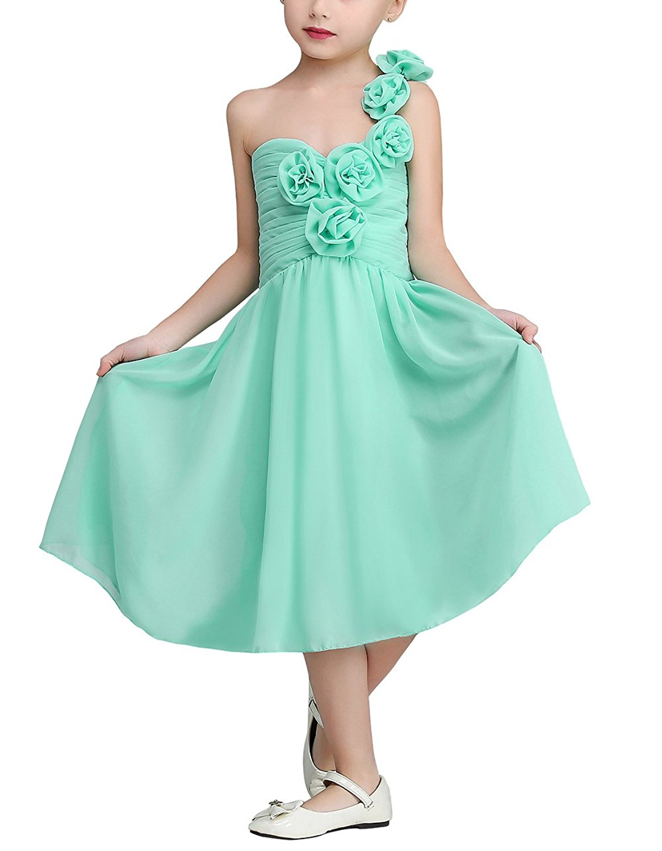 SlenyuBridal Girls Chiffon Junior Bridesmaid Dresses One Shoulder Flower Girl Dress