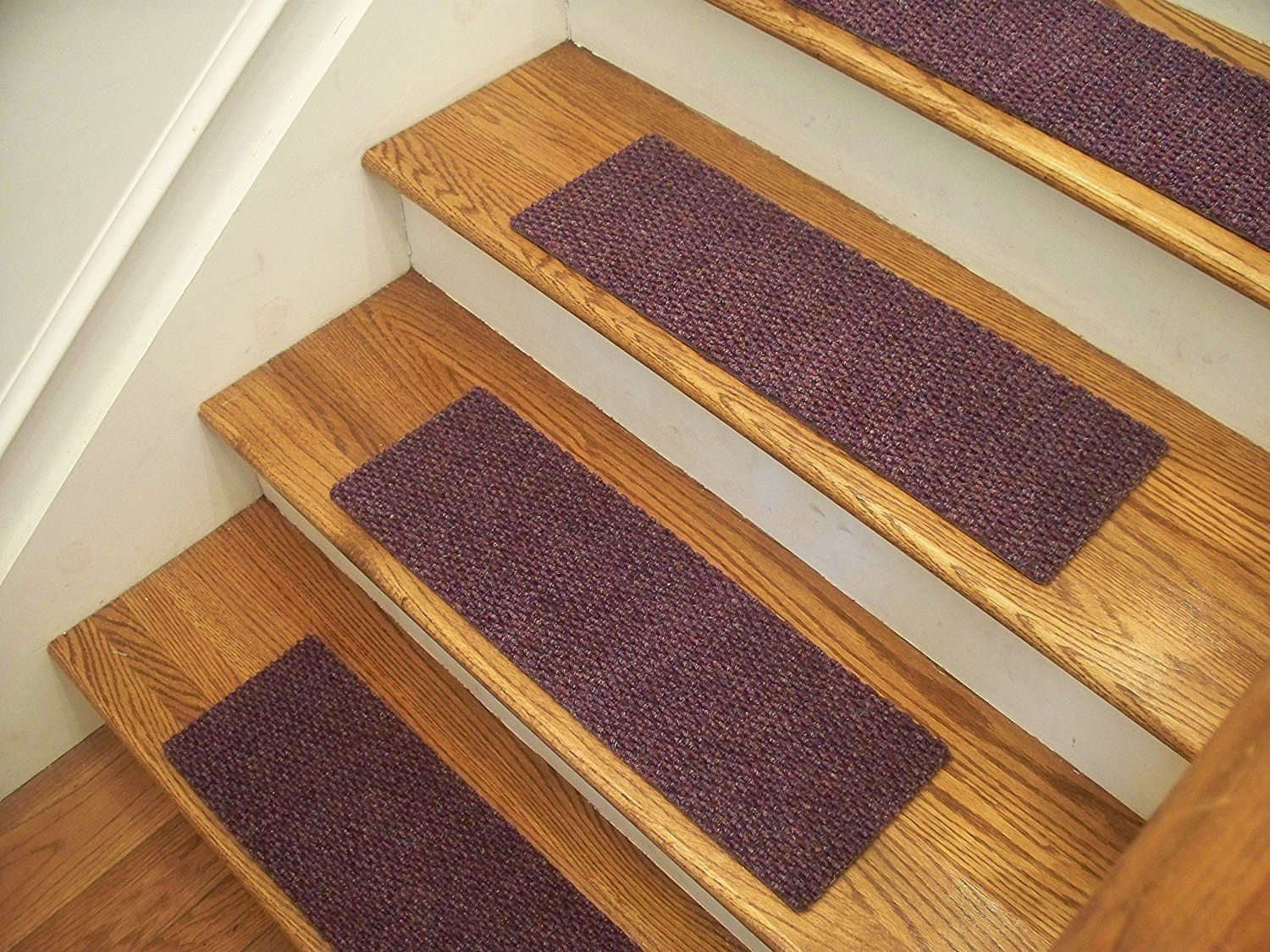 """Essential Carpet Stair Treads - Style: Berber - Color: Lavender - Size: 24"""" x 8"""" - Set of 13"""