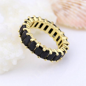 aaa cz zircon baguette black color cut diamond eternity rings for men