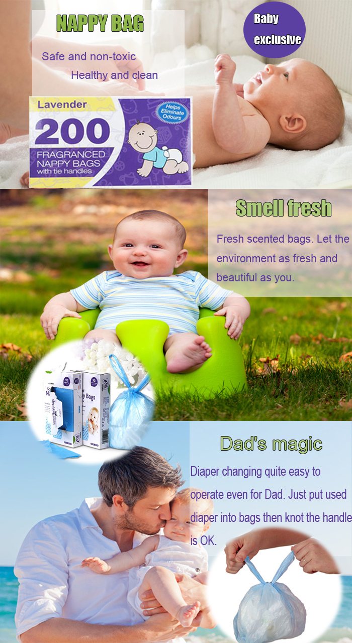 Materialo HDPE Scented Baby Diaper Dispono Sakoj