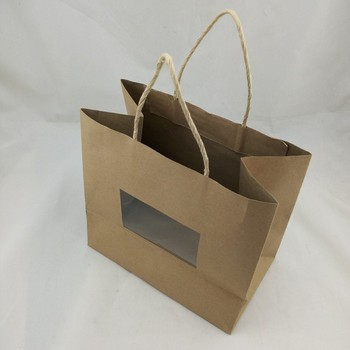 Twist Paper Handle Brown Gift Bag With Clear Window