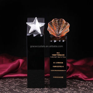 Beach themed color glass liuli optical crystal art trophy