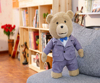 40/60/80cm beautiful lovely customized stuffed plush teddy bear doll toy with grey western-style clothes&pants