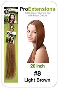 """20"""" Inch #8 Light Brown Pro Extensions Premier REMI Human Hair Extensions by Pro Extensions"""