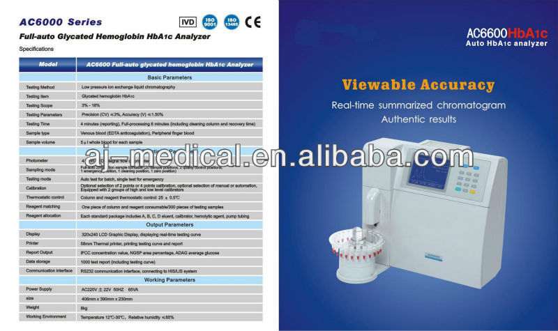 Gold Standard Automatic Medical Glycated Hemoglobin HbA1c Analyzer