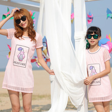 My heart Children Summer 2016 fashion Korean female short sleeved Chiffon Dress Womens Girls Princess Dress