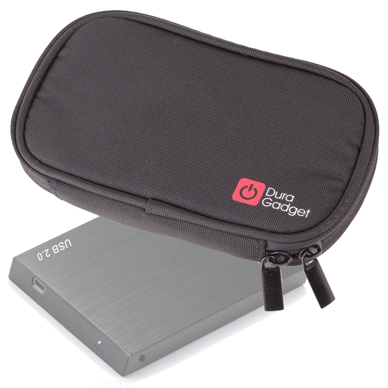 DURAGADGET Black Memory Foam Case With Dual Zips - For Bipra 320GB 2.5 inch USB 2.0 FAT32 Portable External Hard Drive