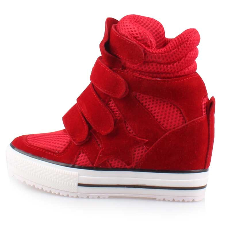 ad5201f827b Get Quotations · New 2015 women platform shoes wedge sneakers for woman  high heel lace up hidden height increasing