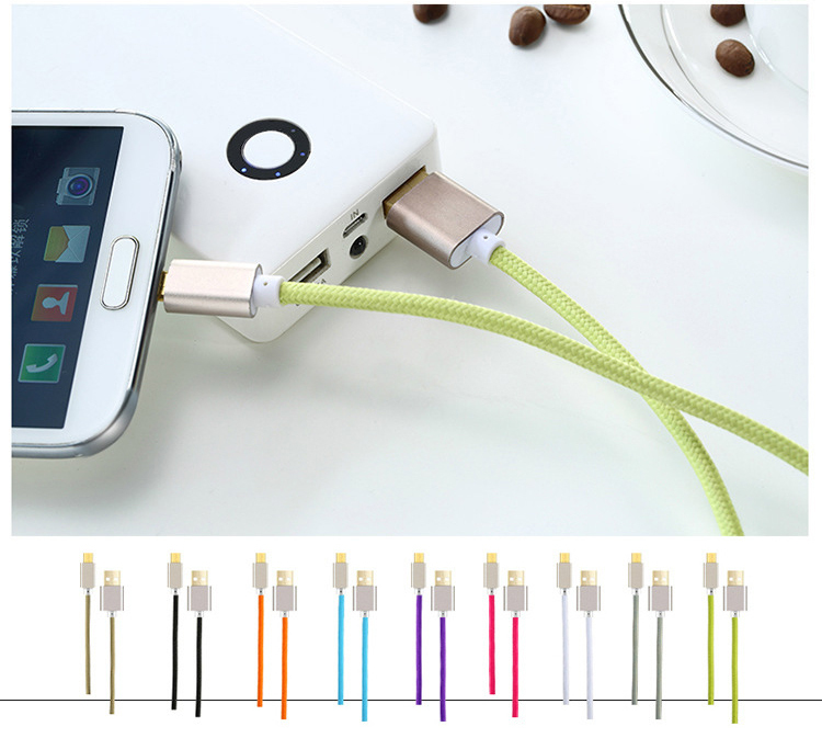 Metal Braided Micro USB Cable 1M 2A Fast Charging Data Sync Charger Cable for Samsung Galaxy S3 S4 HTC Phones Micro USB Cable