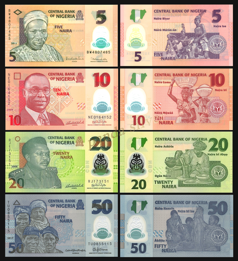 Nigeria set 4 pcs 5-50 Naira Polymer UNC original real notes , world africa  collectables note collection gift