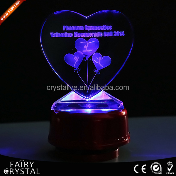 Valentine gift custom magic crystal glass heart with light
