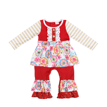 8d3b1a8360bd Latest Newborn Baby Fall Clothes Design Long Striped Sleeve Floral Printed  Baby Bubble Rompers